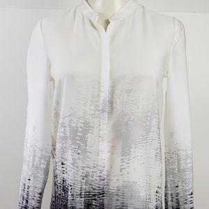 Elie Tahari Top size XS Black White Long Sleeve